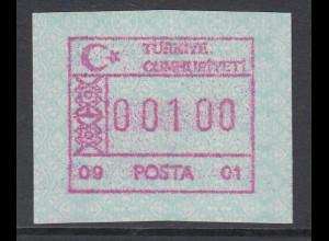 Türkei FRAMA ATM Ausgabe 1992 mit Aut.-Nr. 09 - 01, Mi.-Nr. 2.5 **