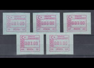 Türkei FRAMA ATM Ausgabe 1992 Lot 5 versch. Aut.-Nummern **