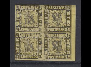 Altdeutschland Bergedorf Mi.-Nr. 3 Viererblock mit 2 Kehrdruck-Paaren sauber *