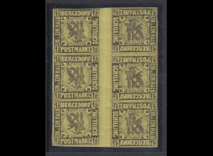 Altdeutschland Bergedorf Mi.-Nr. 3 6er-Block mit 3 Zwischenstegpaaren postfr. **