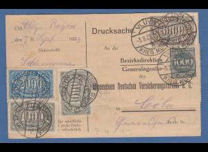 Infla Postkarte als Drucksache gel. von VLUYN nach Köln, beidseitige Frankatur