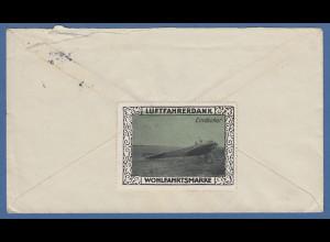 Brief 1915 gel. von Seefeld nach Berlin, rückseitig mit Luftfahrerdank-Vignette