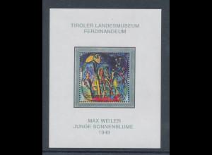 Österreich 2004, Blockausgabe Max Weiler, Sonnenblume, Mi.-Nr. Block 26 **