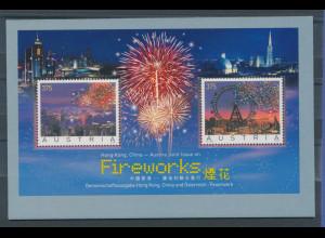 Österreich 2007, Blockausgabe Feuerwerk, Hongkong / Wien, Mi.-Nr. Block 34 **