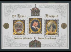 Österreich 2003, Blockausgabe Hochzeit Elisabeth, Franz Joseph Mi.-Nr. Bl. 23 **