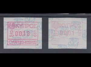 Zypern Frama-ATM Ausgabe 1989, Mi.-Nr. 1 je eine ATM ** mit Aut.-Nr. 001 und 002