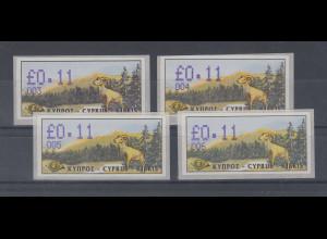 Zypern Amiel-ATM Ausgabe 1999, Mi.-Nr. 4 je eine ATM mit Aut.-Nr 003 004 005 006