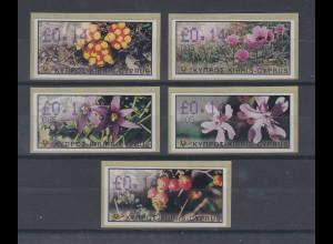 Zypern Amiel-ATM Ausgabe Wildblumen 2002, Mi.-Nr. 5-9 je eine ATM mit Nr. 005