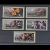 Zypern Amiel-ATM Ausgabe Wildblumen 2002, Mi.-Nr. 5-9 je eine ATM mit Nr. 006