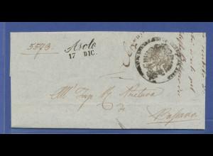 Italien, Vorphilabrief gelaufen von Asolo nach Bassano, 1850
