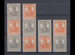 Germania Zusammendrucke aus Automatenrollen, Farbe a orange, alle 4 ZSD **