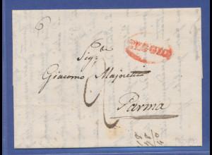 Italien, vorphilatelistischer Brief von REGGIO nach Parma, 1840