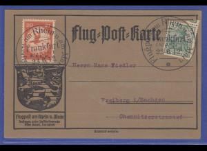 Dt. Reich Flugpostmarke E.EL.P 20Pf auf Flugpost-Karte mit O Frankfurt 23.6.12