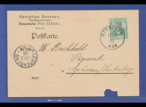 Dt. Reich 1905, Postkarte mit Stempel EICHICHT gel. nach Luetenberg, AK-O