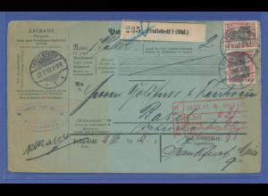Auslands-Paketkarte in die Schweiz ab Frellstedt mit MEF 2x Mi.-Nr. 75, 1902.