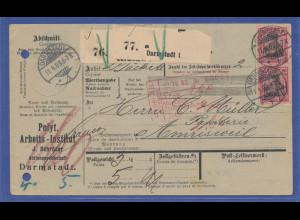 Auslands-Paketkarte in die Schweiz ab Darmstadt mit MEF 2x Mi.-Nr. 77, 1903.