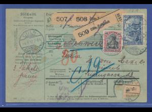 Auslands-Paketkarte in die Schweiz ab Cöln mit MIF Mi.-Nr. 75 und 82A, 1903.