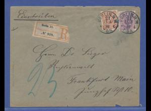 Deutsches Reich Pfennig Mi.-Nr. 40 und 43 auf R-Brief Berlin-->Frankfurt