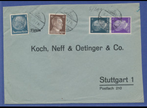 Deutsches Reich Zusammendruck aus Rollen S290 auf Brief aus Regensburg.