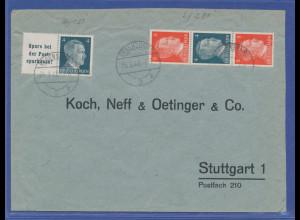 Deutsches Reich Zusammendrucke W151 und S281 auf Brief aus Regensburg, 1942