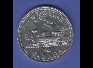 Kanada Silbermünze 1 Dollar 1981 Transkanadische Eisenbahn Lokomotive, PP