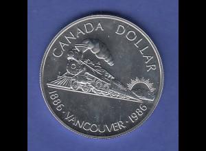 Kanada Silbermünze 1 Dollar 1986 Transkanadische Eisenbahn vor Vancouver, PP
