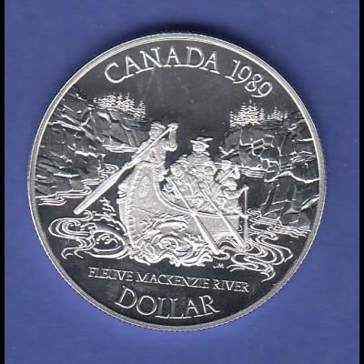 Kanada Silbermünze 1 Dollar 1989 Mackenzie-Expedition in die Arktis, PP