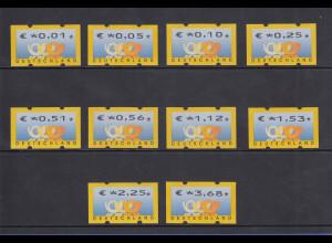 Deutschland ATM 3 Posthörner, €-Währung Sielaff Mi-Nr. 4.1 Satz 0,01-3,68 **
