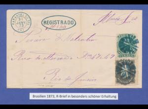 Brasilien 1873, R-Brief von Parahyba nach Rio. Ein besonders schöner Brief !