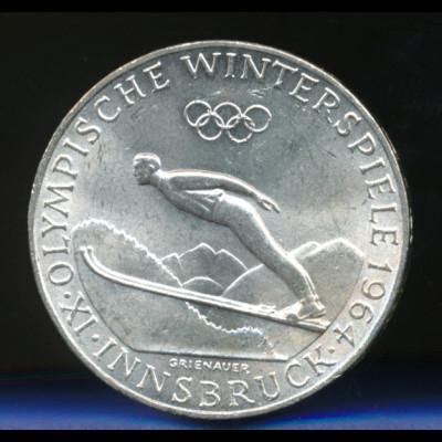 Österreich 50-Schilling Silber-Gedenkmünze 1964, Olympische Spiele Innsbruck