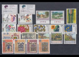 Liechtenstein kompletter Briefmarken-Jahrgang 1996 postfrisch **