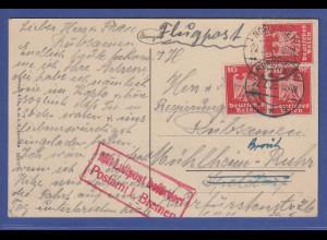 Deutsches Reich 1925 Flugpostkarte gel. v. Norderney nach Mühlheim / Ruhr