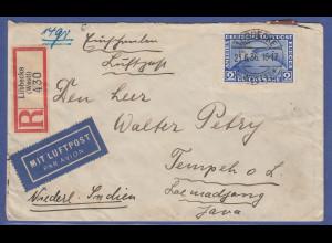 Zeppelin Mi.-Nr. 497 als EF auf LP-Einschreiben von Lübbecke nach Java, 1936
