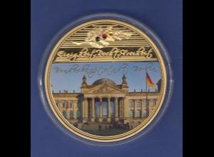 Gigant-Medaille 70mm 110g Reichstag Berlin, vergoldet, mit Kristallen