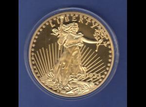 Gigant-Medaille 70mm 118g Motiv ähnlich USA Walking Liberty , vergoldet