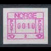 """Norwegen Frama-ATM 1978, Aut.-Nr. 2 mit Klischeefehler """"gebrochene erste 0"""" **"""