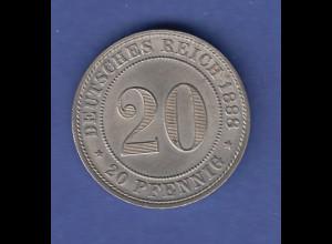 Deutsches Reich Münze 20 Pfennig D 1888 vz +