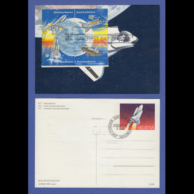 USA Space Shuttle 1981 4er-Zusammendruck mit ET-O gross auf Schweizer Ganzsache