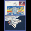 USA Space Shuttle 1981 8er-Zusammendruck mit Sonderstempel auf CH-Ganzsache