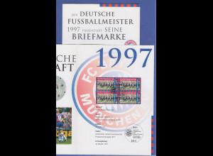 Bundesrepublik offiz. Faltblatt Fußball FC Bayern München Deutscher Meister 1997