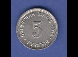 Deutsches Kaiserreich Münze 5 Pfennig D 1915, vorzüglich