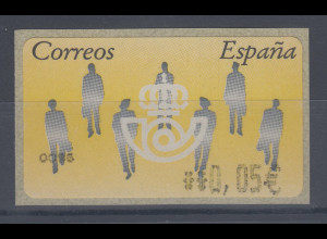 Spanien ATM Menschen, Wert in € 5-stellig schmal, Mi.-Nr. 7 F 4