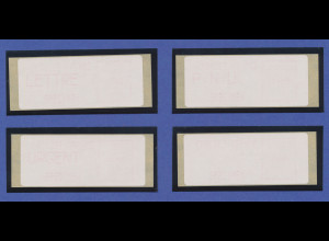 """Frankreich SPECIMEN-ATM """"CROUZET FRANCE"""" 1983 auf Thermopapier, Satz 4 Werte **"""