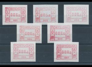 Portugal Frama-ATM 1981, je eine ATM der Aut.-Nr. 001-007 (erste 7 Geräte) **