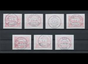 Portugal Frama-ATM 1981, je eine ATM der Aut.-Nr. 001-007 (erste 7 Geräte) O