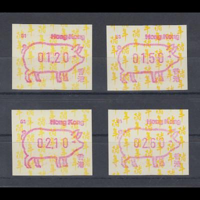 Hongkong FRAMA-ATM Schwein Aut.-Nr. 01 Satz 4 Werte 120-150-210-260 **