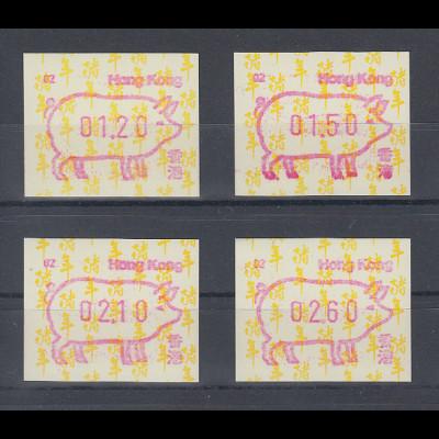 Hongkong FRAMA-ATM Schwein Aut.-Nr. 02 Satz 4 Werte 120-150-210-260 **