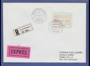 Luxemburg ATM P2501 MAXIMUM-WERTFEHLDRUCK 90,00 Fr. auf R-Expr.-Bf.