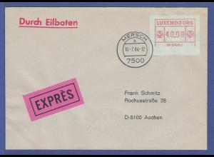Luxemburg ATM P2504 Wert 40,00 Fr. ohne Unterlinie auf Exp.-FDC gel. nach Aachen