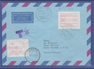 Luxemburg ATM P2504 GUMMIDRUCK Wert 21,00 Fr. auf LP-Brief n. RSA, nachtaxiert